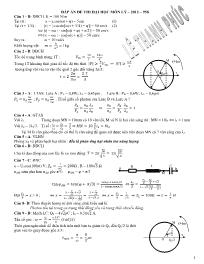 Đáp án đề thi Đại học môn Vật lý 2011-2012 (Đ