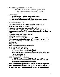 Giáo án Hình học 12 - Tiết 19: Các bài toán l