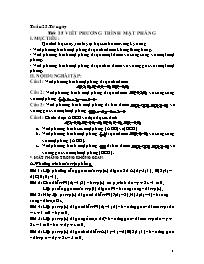 Giáo án Hình học 12 - Tiết 25: Viết phương tr