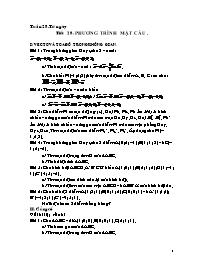Giáo án Hình học 12 - Tiết 28: Phương trình mặt cầu - Năm học 2009-2010