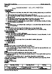 Giáo án Sinh học 10 - Tiết 4, Bài 4+5 Cacbohd