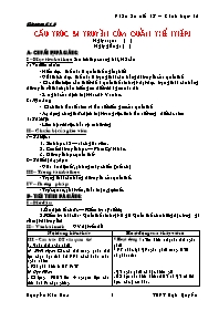 Giáo án Sinh học 12 - Tiết 18: Cấu trúc di tr