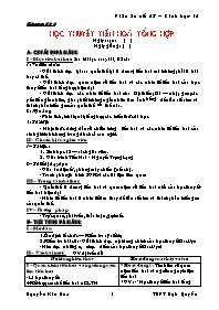 Giáo án Sinh học 12 - Tiết 28: Học thuyết tiế