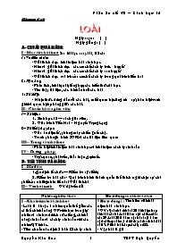 Giáo án Sinh học 12 - Tiết 30: Loài - Nguyễn