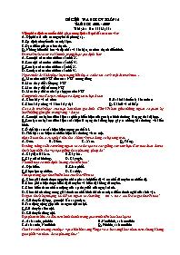 Giáo án Sinh học 12 - Tiết 37: Kiểm tra học k