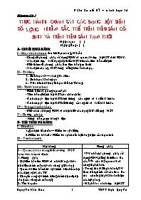 Giáo án Sinh học 12 - Tiết 7: Thực hành Quan