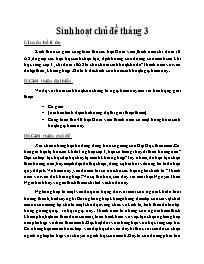 Giáo án Giáo dục hướng nghiệp 12 - Sinh hoạt chủ đề tháng 3
