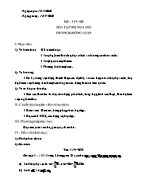 Giáo án Hình học Lớp 12 - Tiết 119+120: Bài t