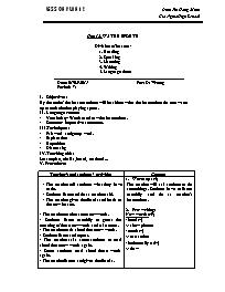 Giáo án Tiếng Anh Lớp 12 - Unit 12: Water spo