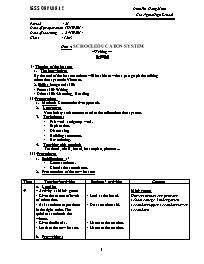 Giáo án Tiếng Anh Lớp 12 - Unit 4: School edu